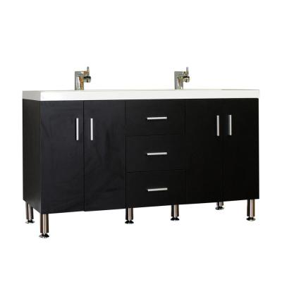 The Modern 56.5 in. W x 19.875 in. D Bath Vanity in Black with Acrylic Vanity Top in White with White Basin