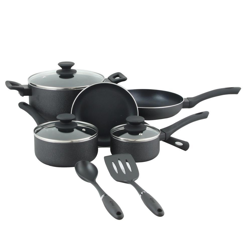Ashford 10-Piece Aluminum Nonstick Cookware Set with Bakelite Handle