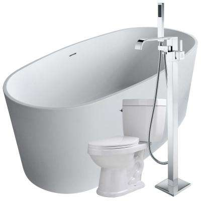 Roccia 61.4 in. Man-Made Stone Flatbottom Non-Whirlpool Bathtub in White with Angel Faucet and Talos 1.6 GPF Toilet