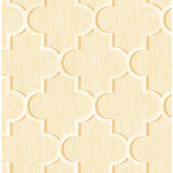 Seabrook Designs Agate Metallic Gold and Off-White Ogee Wallpaper GT20605