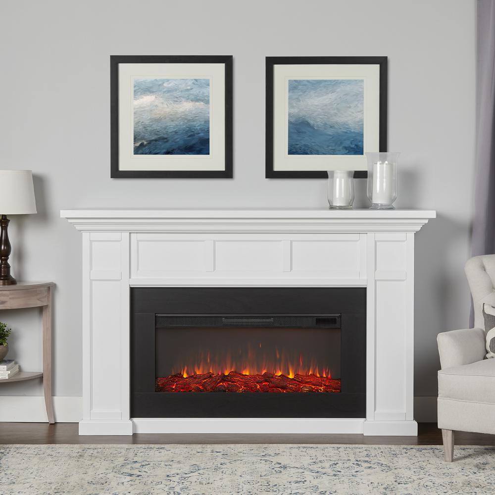 Alcott Landscape 75 in. Freestanding Electric Fireplace in White
