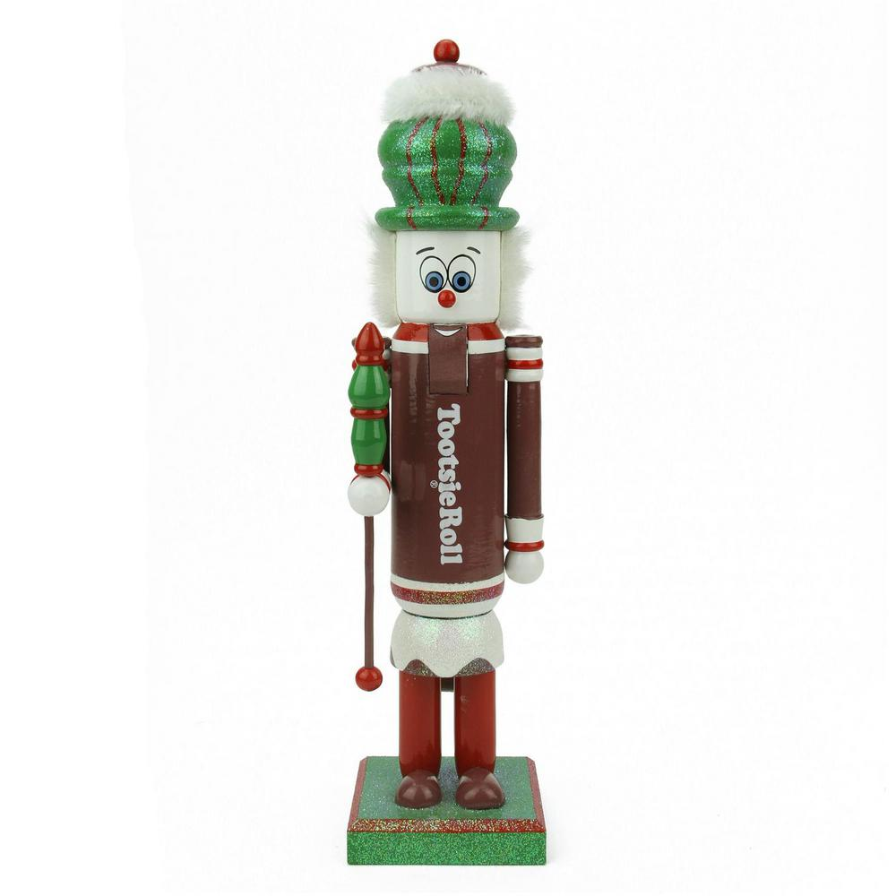 14 in. Brown, Red and White Tootsie Roll Wooden Christmas Nutcracker