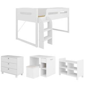 Madison 5 Piece All-in-One Single/Twin Loft Bed in Snow White