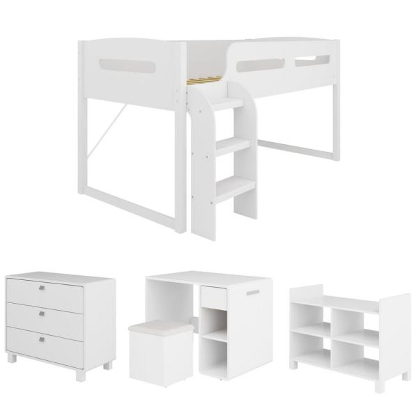 CorLiving Madison 5 Piece All-in-One Single/Twin Loft Bed in Snow White