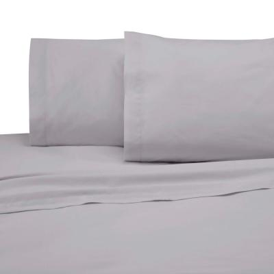 4-Piece Light Gray Solid 225 Thread Count Cotton Blend King Sheet Set