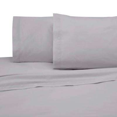 225 Thread Count Light Gray Cotton Twin Sheet Set