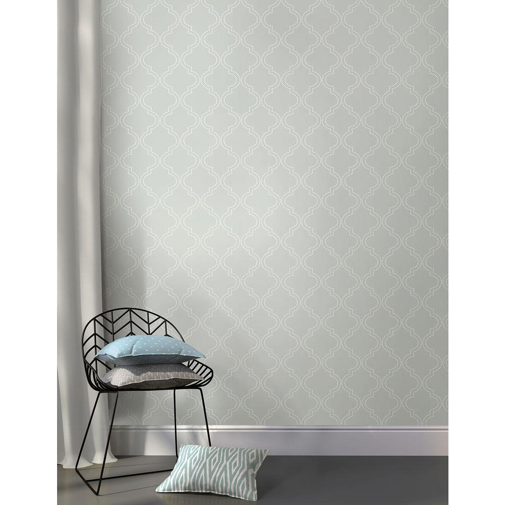 Nuwallpaper sq ft grey quatrefoil peel and stick for Paintable peel n stick wallpaper