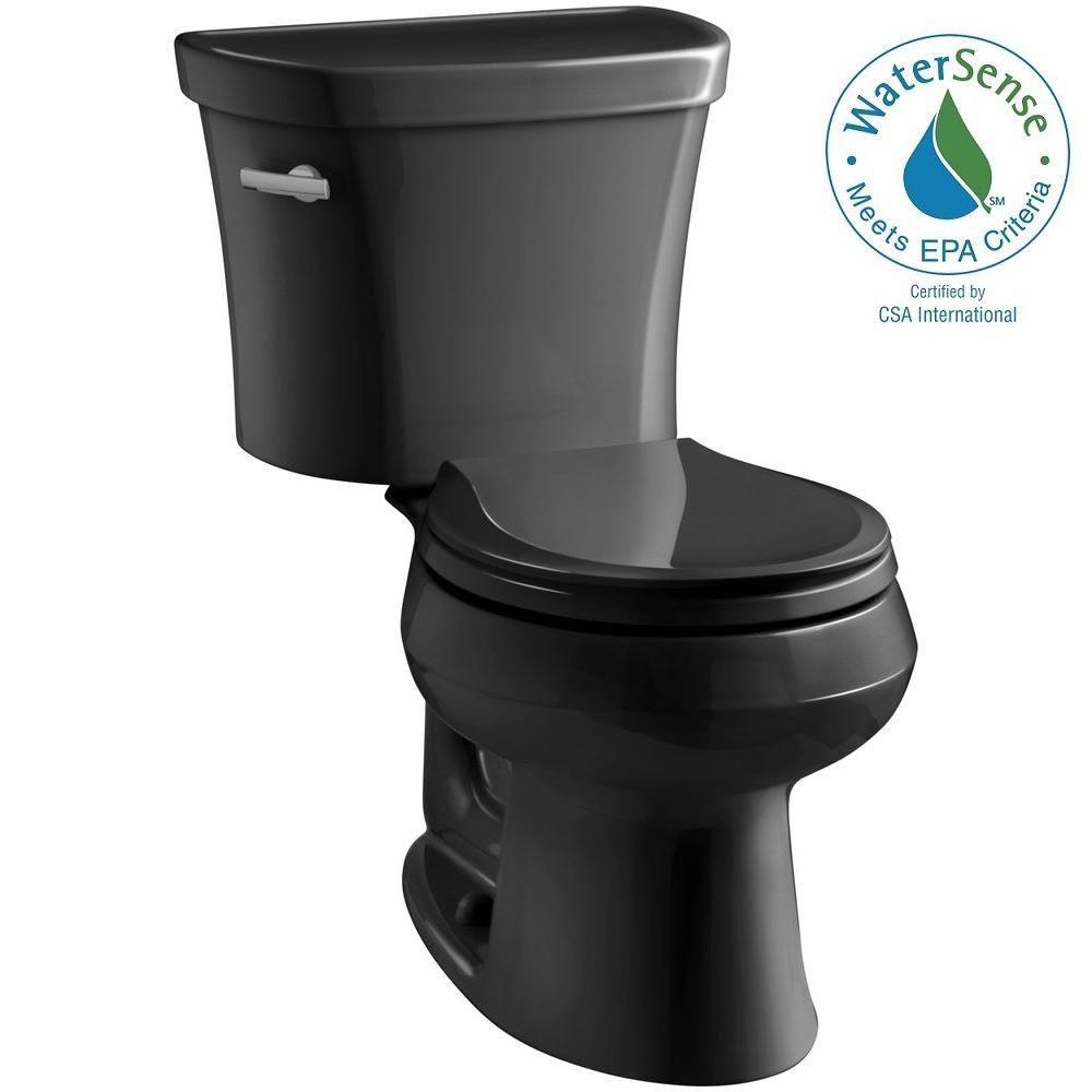 Wellworth 14 in. Rough-In 2-piece 1.28 GPF Single Flush Round Toilet in Black Black