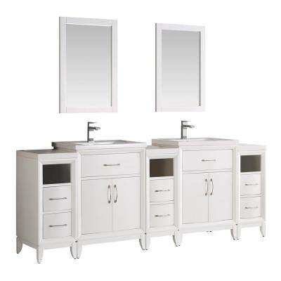 Cambridge 84 in. Vanity in White with Porcelain Vanity Top in White with White Ceramic Basins and Mirror