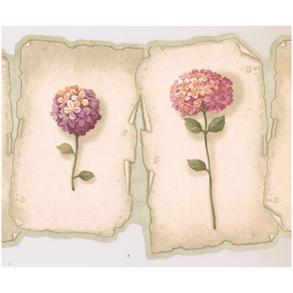 Retro Art Pink Purple Hydrangea Hortensia Flowers on Plaques Scalloped Prepasted