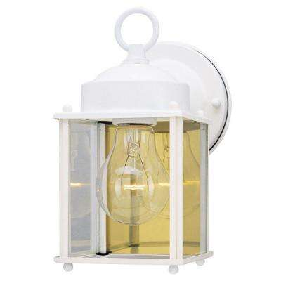 1-Light White Steel Exterior Wall Lantern with Clear Glass Panels