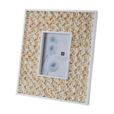 Natural Shell 1-Opening 5 in. x 7 in. Flower Bud In Natural Shell Picture Frame