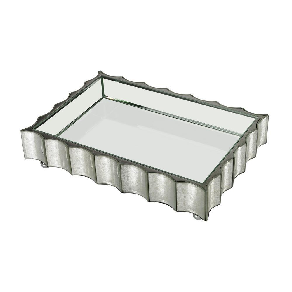 Small Scalloped Edge Mirror Tray, Metallics