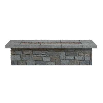 Sedona 66 in. x 15 in. Rectangle Cast Concrete Propane Fire Pit in Gray with Natural Gas Conversion Kit