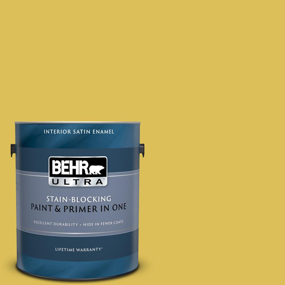 BEHR ULTRA 1 gal  #P320-6 Sulfur Yellow Satin Enamel Interior Paint and  Primer in One