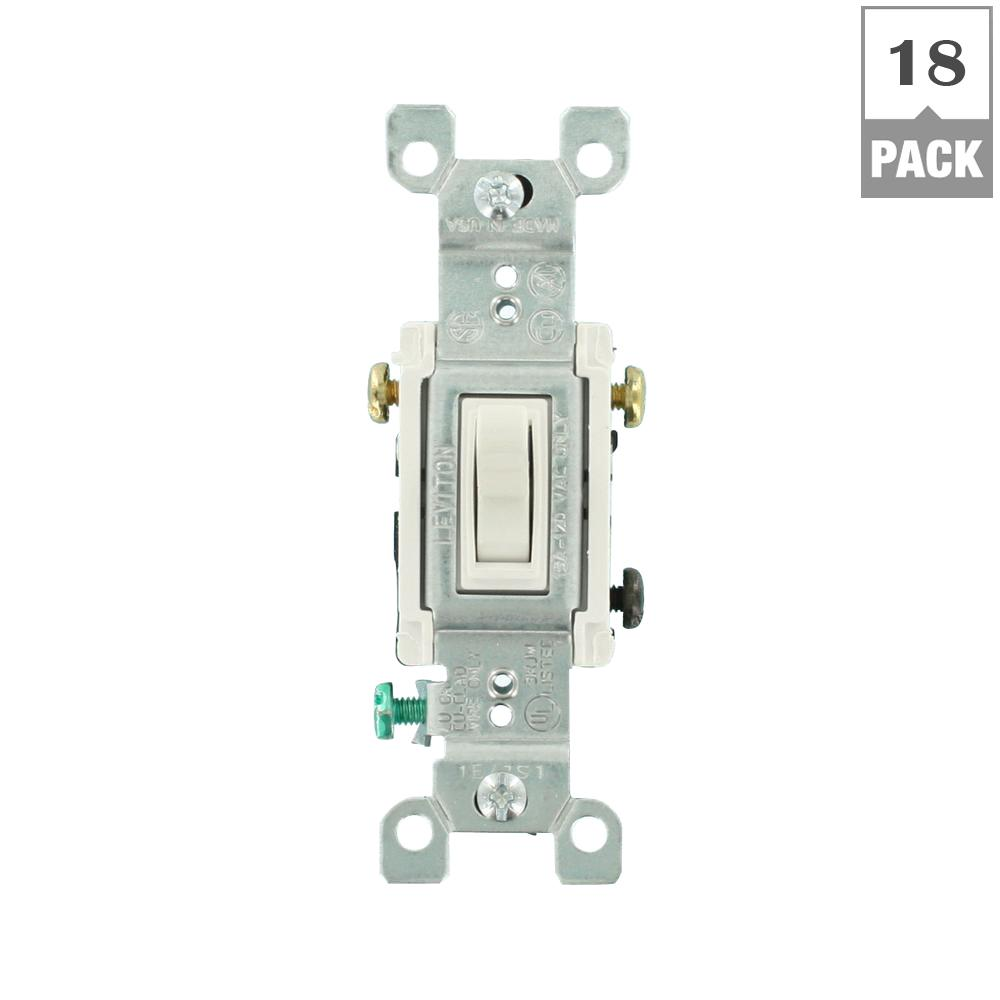 Leviton 15 Amp Commercial Grade Double Pole Toggle Switch White Ac 3 Prong Rocker Wiring Diagram Way 18 Pack
