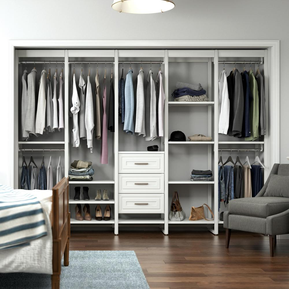 CLOSETS By LIBERTY 113 in. W White Adjustable Tower Wood Closet System with 3 Drawers and 18 Shelves