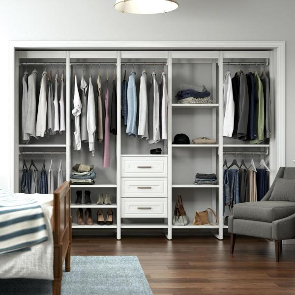 Closets By Liberty 113 In W White Adjustable Tower Wood Closet System With 3 Drawers And 18 Shelves Hs74567 Rw 10 The Home Depot