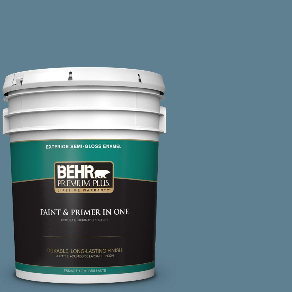 5-gal. #BXC-36 Aegean Blue Semi-Gloss Enamel Exterior Paint