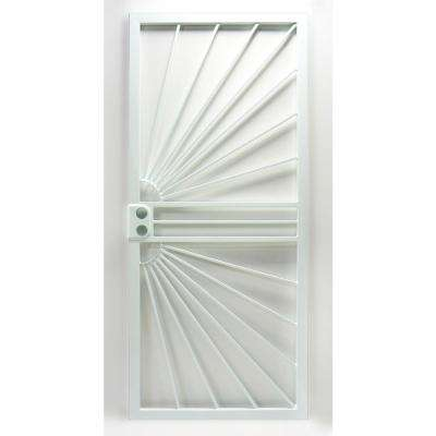 36 in. x 80 in. 469 Series White Prehung Universal Hinge Outswing Sunburst Security Door
