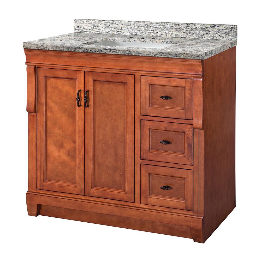 Naples 37 in. W x 22 in. D Vanity in Warm Cinnamon with Granite Vanity Top in Santa Cecilia with White Basin
