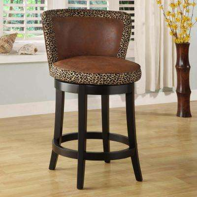 Lisbon 30 in. Leopard Print Fabric and Brown Wood Finish Swivel Barstool