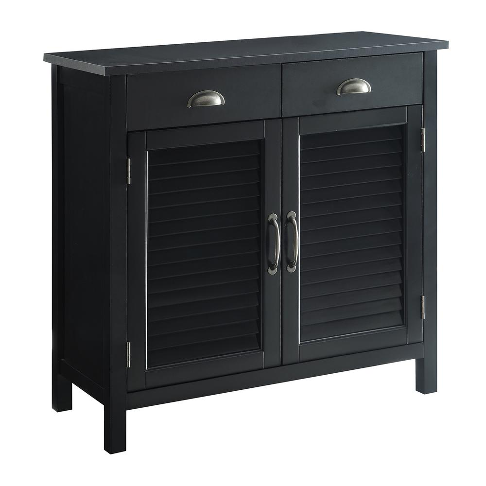 USL Olivia Black Accent Cabinet, 2-Shutter Doors and 2-Drawers