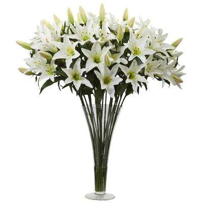 Lily Arrangement with Flared Vase