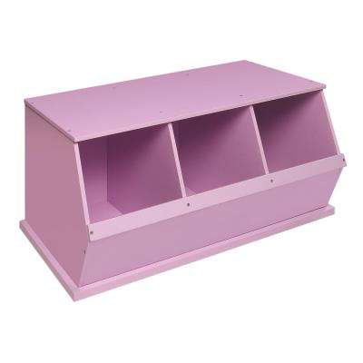 37 in. W x 17 in. H x 19 in. D Lilac Stackable 3-Storage Cubbies