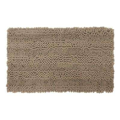 Astor Striped Chenille Linen 17 in. x 24 in. Plush Bath Mat