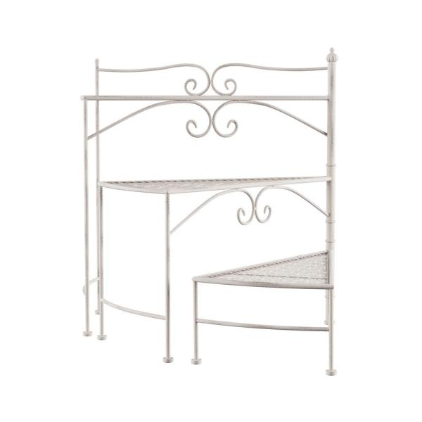 3-Tier Antique White Metal Decorative Folding Spiral Stair Plant Stand