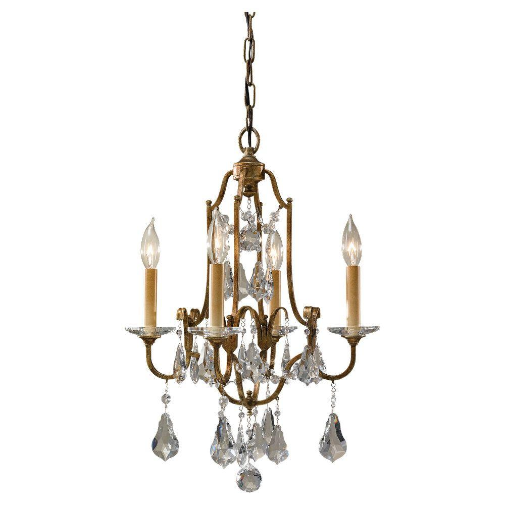 Crystal chandeliers lighting the home depot valentina 4 light oxidized bronze mini chandelier arubaitofo Images