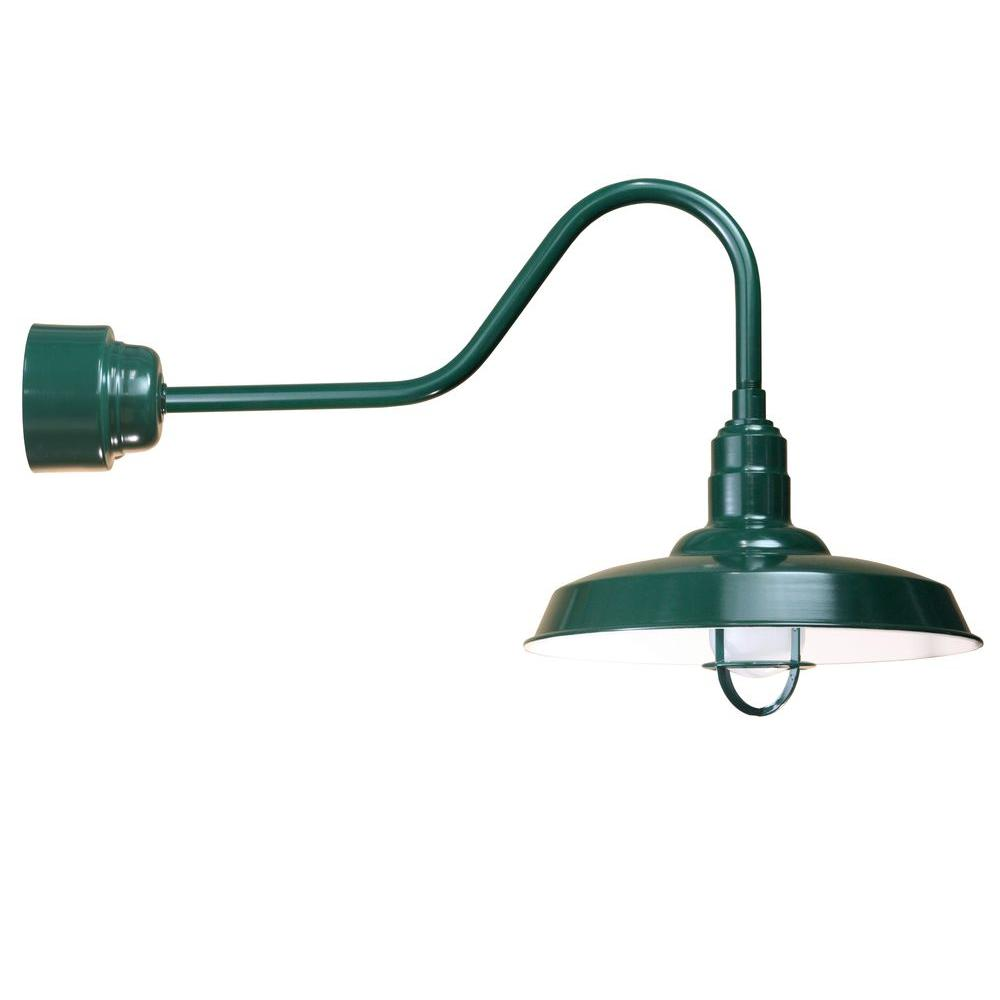 1-Light Outdoor Green Angled Arm Wall Sconce with Frosted Glass and