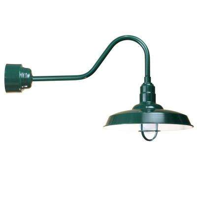 1-Light Outdoor Green Angled Arm Wall Sconce with Frosted Glass and Wire Guard