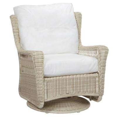 Park Meadows White Swivel Rocking Wicker Outdoor Patio Lounge Chair with Cushions Included, Choose Your Own Color