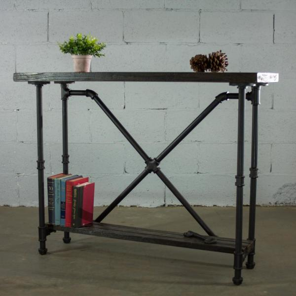 Houston Industrial Vintage, Black 2-Tier Pipe Entryway/Console/Sofa/Hall  Table-Metal-Reclaimed/Aged Wood