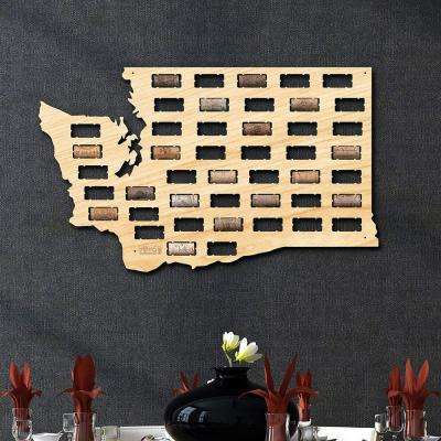 22 in. x 13 in. Wooden Washington Wine Cork Map