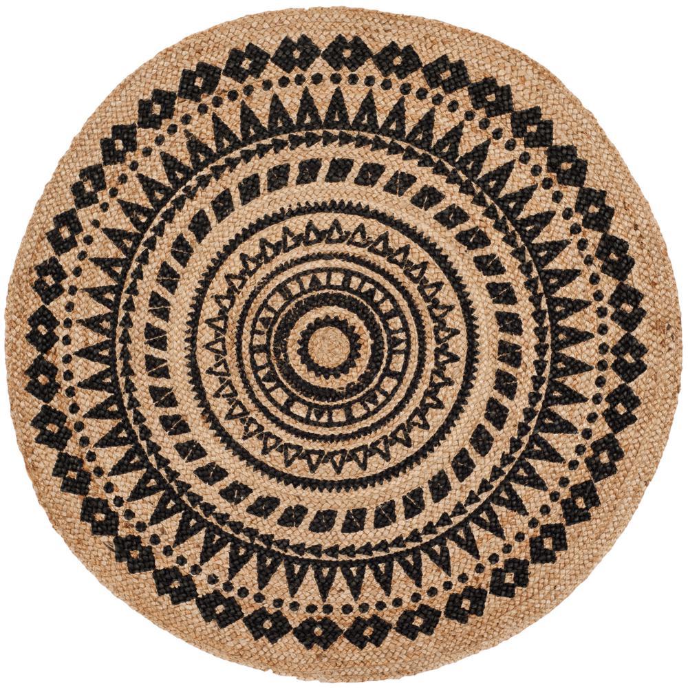 safavieh natural fiber black beige 3 ft x 3 ft round area rug nf802k 3r the home depot. Black Bedroom Furniture Sets. Home Design Ideas