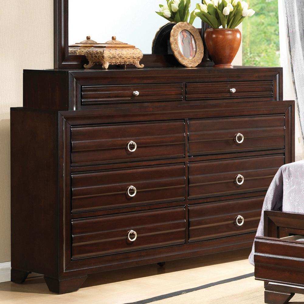 Home Source Ramirez Mahogany 8 Drawer Dresser with Silver Circular Drop Handles
