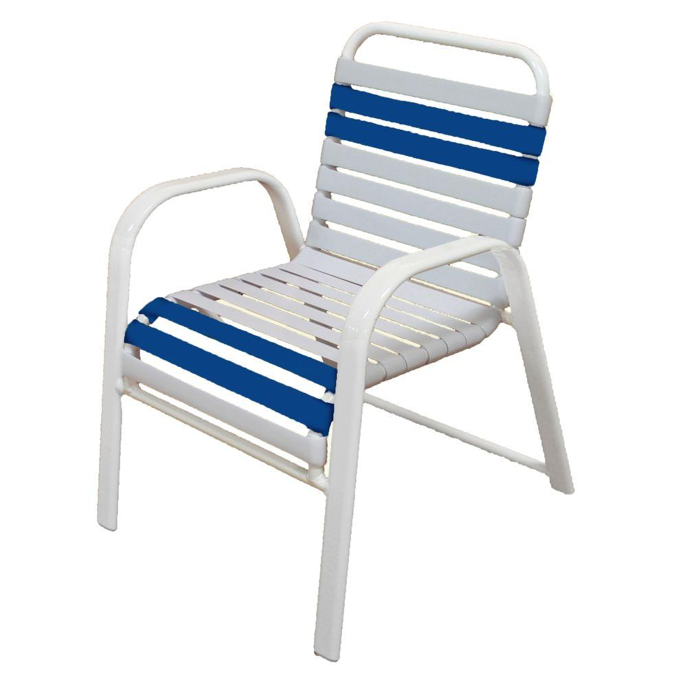 This Review Is From Marco Island White Commercial Grade Aluminum Patio Dining Chair With And Blue Vinyl Straps 2 Pack