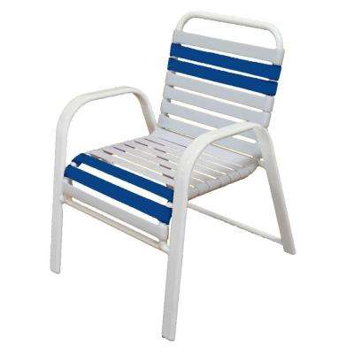 Marco Island White Commercial Grade Aluminum Patio Dining Chair with White and Blue Vinyl Straps (2-Pack)