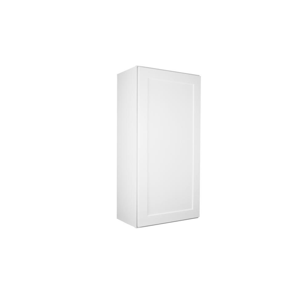 Lakewood Cabinets Shaker Ready to Assembled 21x36x12 in. Plywood Wall Cabinet with 1 Soft Close Door in White and 2 Adjustable Shelves