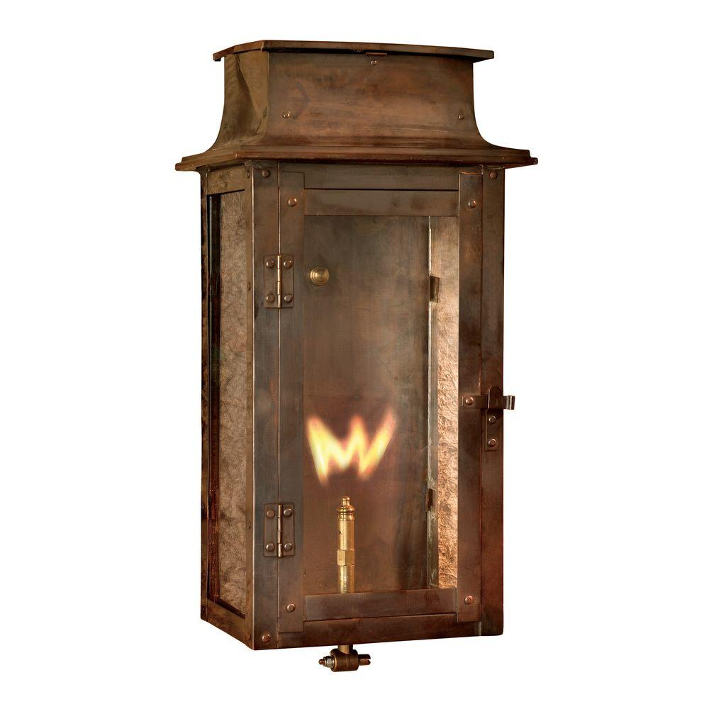 Maryville Washed Pewter Gas Outdoor Wall Lantern