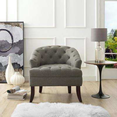 Delilah Charcoal Linen Armless Barrel Slipper Chair with Button Tufting