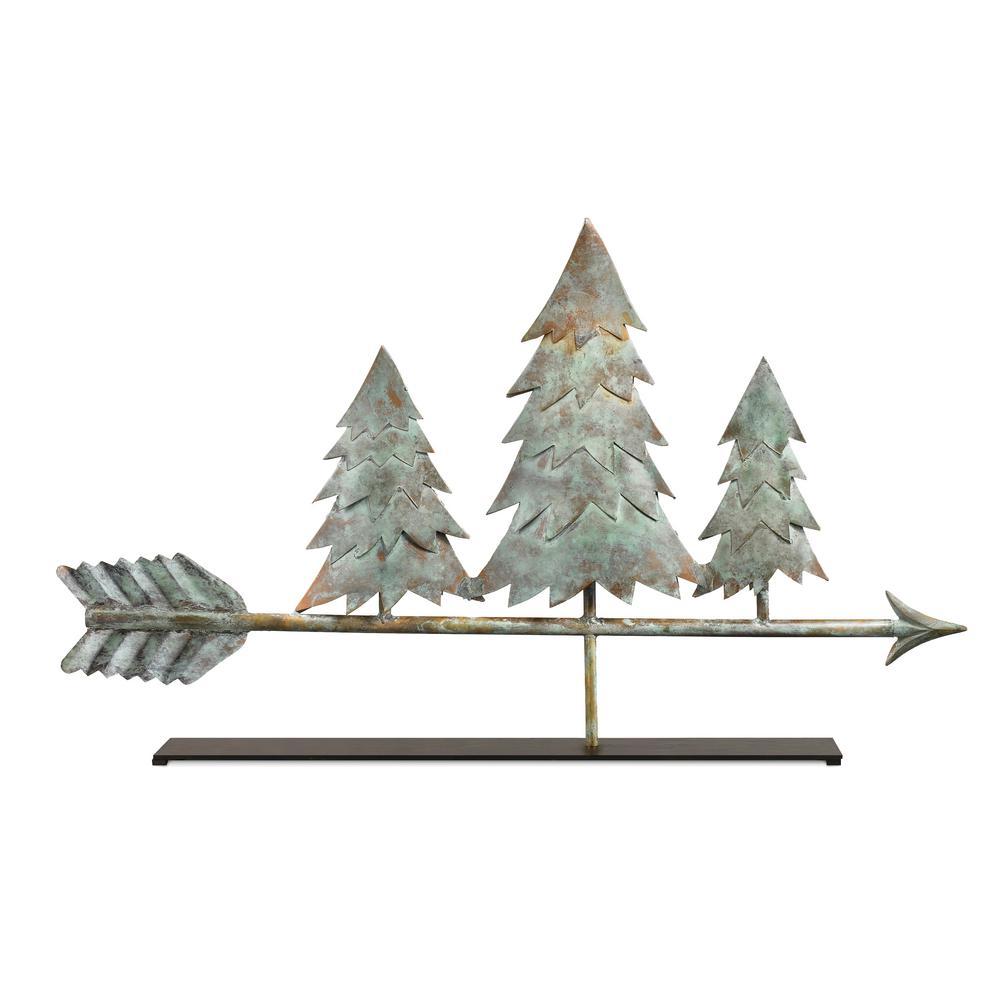 Pine Trees Blue Verde Copper Table Top Sculpture - Home Decor