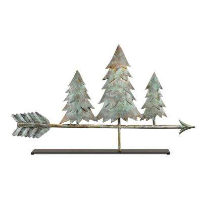 Pine Trees Blue Verde Copper Table Top Sculpture - Home Decor