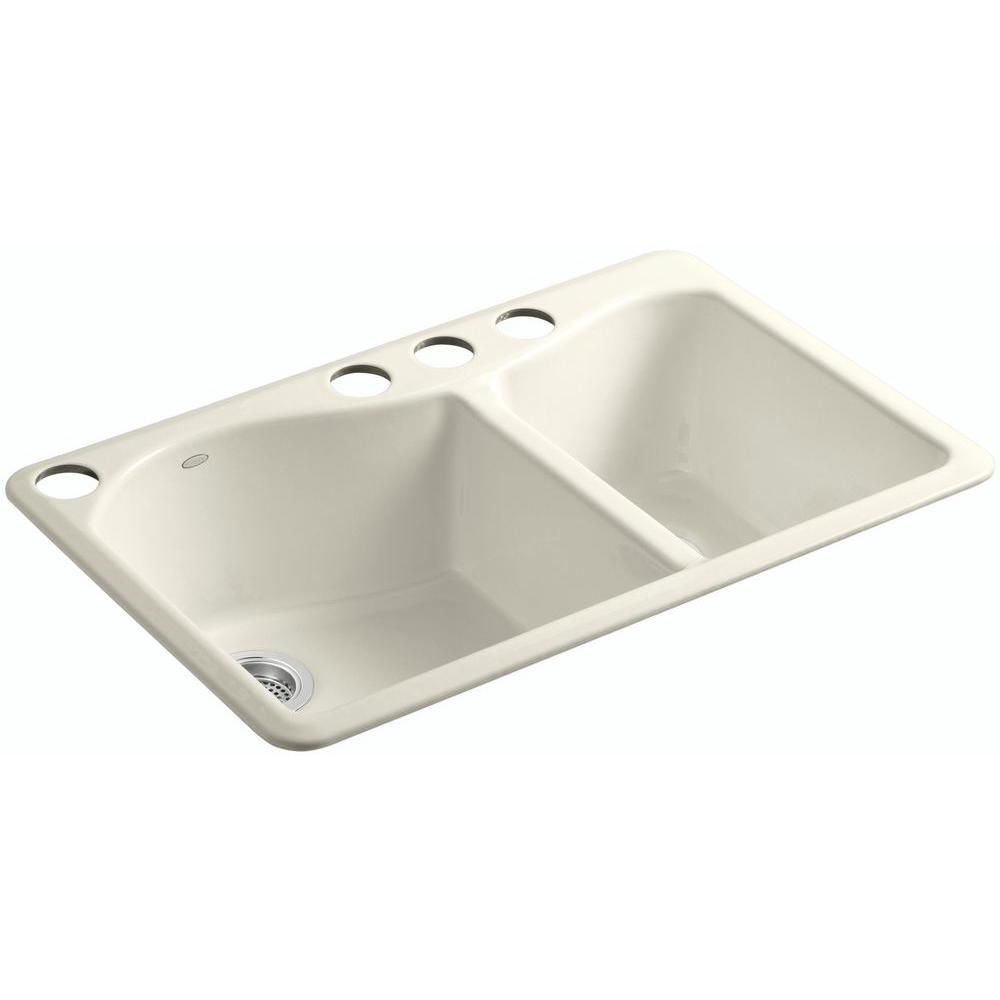 KOHLER Lawnfield Undermount Cast-Iron 33 in. 4-Hole Double Bowl Kitchen Sink in Biscuit