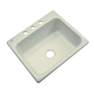 Inverness Drop-In Acrylic 25 in. 3-Hole Single Bowl Kitchen Sink in Jersey Cream