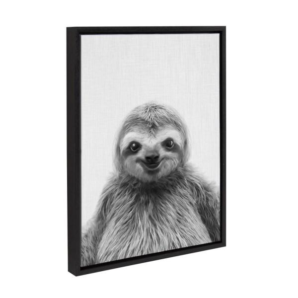 Kate And Laurel Sylvie Sloth By Tai Prints Framed Canvas Wall Art 216339 The Home Depot