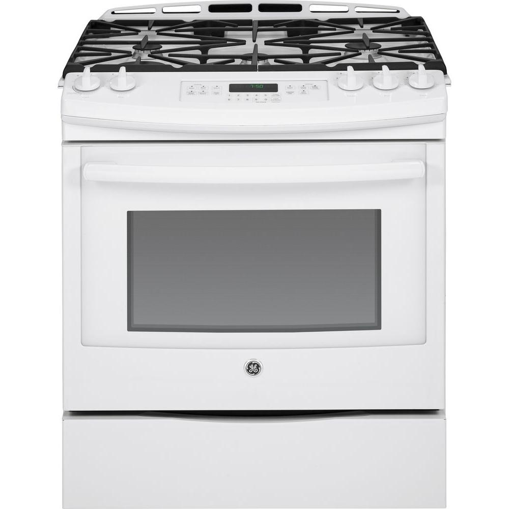 GE 5.6 cu. ft. Slide-In Gas Range with Self-Cleaning Convection Oven in White